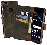 Suncase Book-Style (Slim-Fit) für Huawei P10 Lite Ledertasche Leder Tasche Handytasche Schutzhülle Hülle Hülle (mit Standfunktion & Kartenfach) antik braun