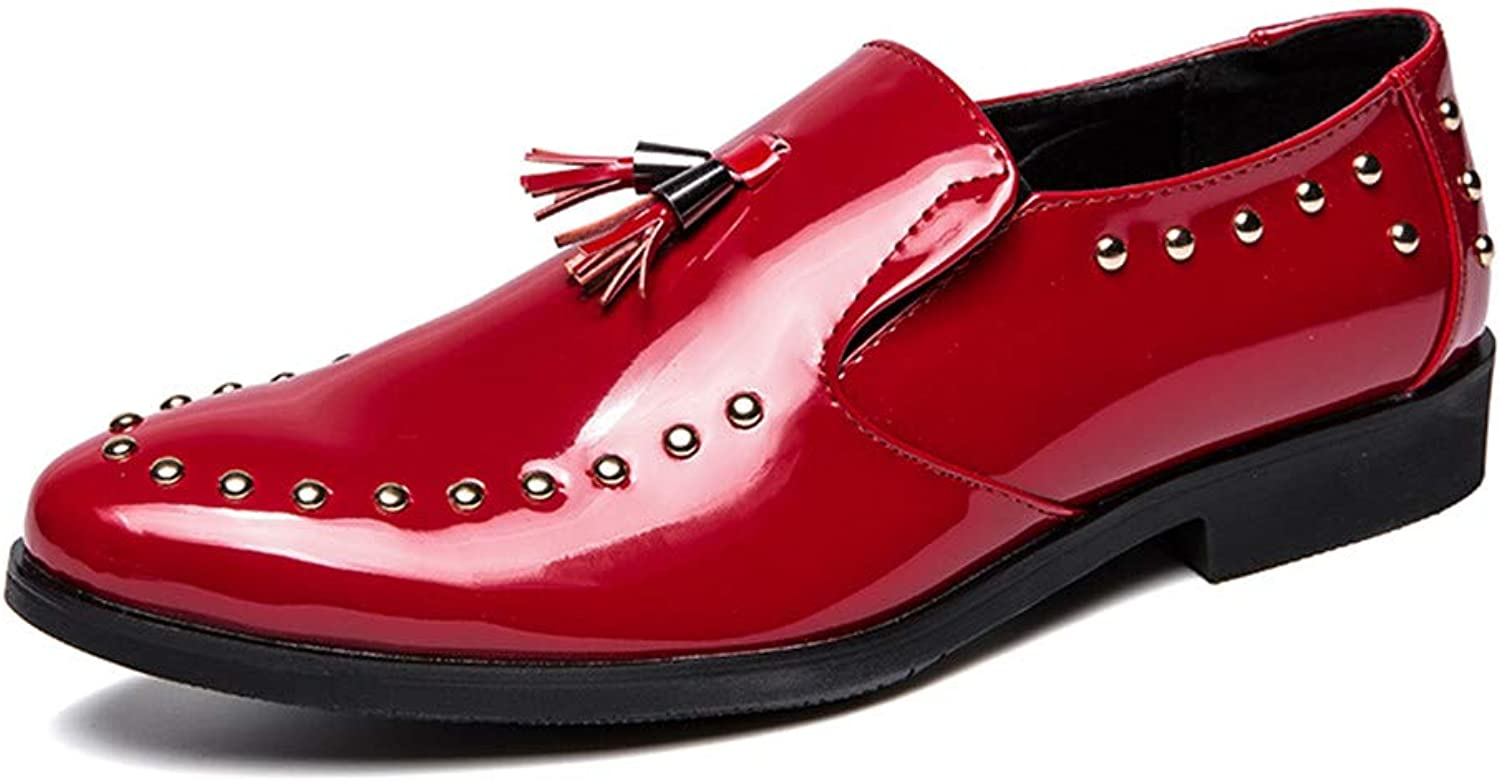 For 2018's, Men's Faux Patent Leather Oxford shoes Handmade Tassel Loafer Slip On Dress shoes