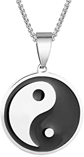 Towlimss Fashion Stainless Steel Yin Yang Medallion Pendant Tai Chi Round Chain Necklace
