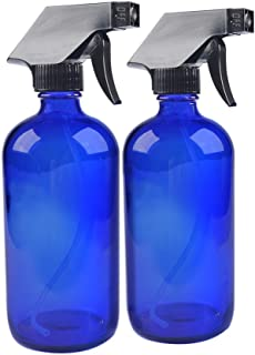 2 Pack 16 oz Blue Boston Glass Spray Bottles,Refillable Trigger Sprayers with Mist & Stream for Essential Oils, Bath, Beauty, Hair & Cleaning Products.Include 2 Durable Caps and 2 Chalk Labels.