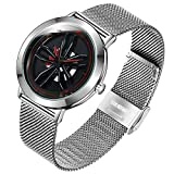 Rim Hub Reloj Giratorio De 360 Grados con Rueda De Coche, Reloj De Pulsera De Cuarzo para Hombre con Correa De Cuero De Acero Inoxidable 24.5cm Banda de Malla C