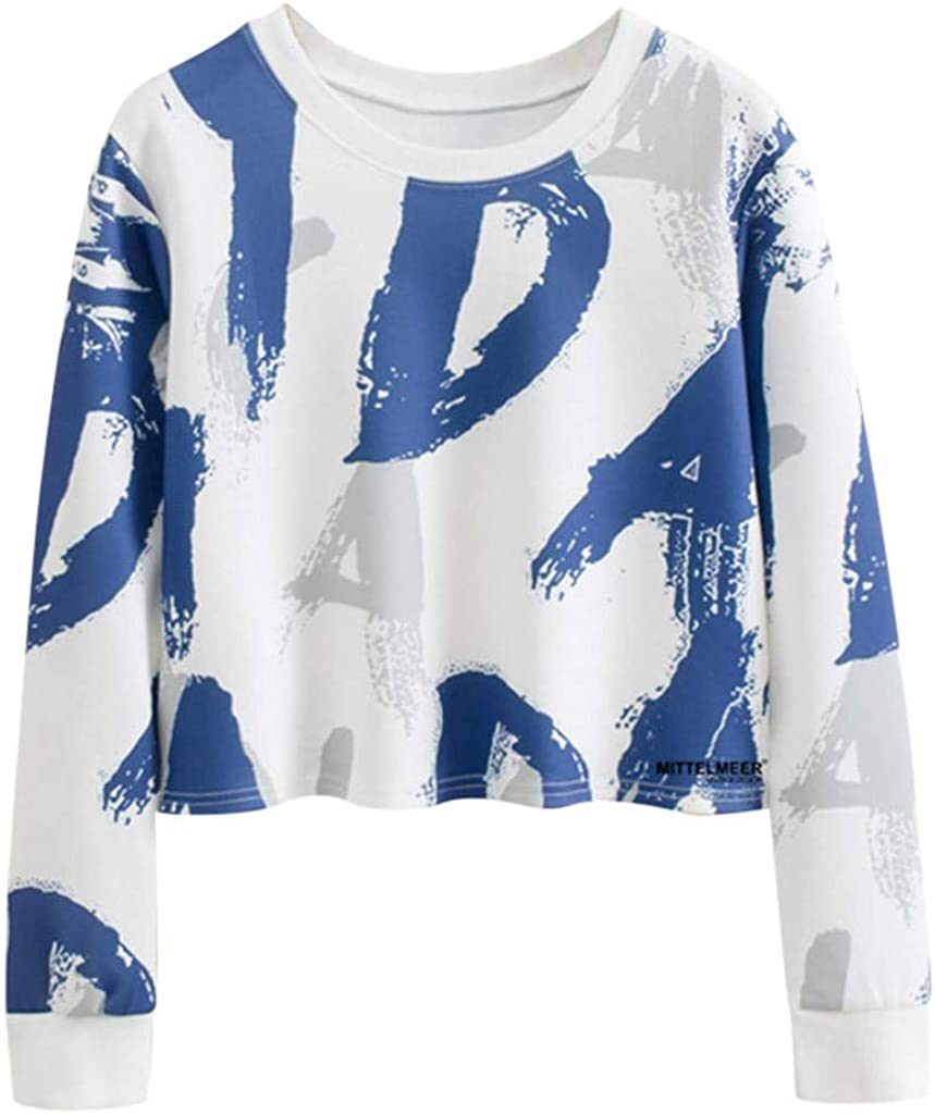 Philadelphia Mall F_topbu Pullover Top for Women Max 60% OFF Crop Round-Neck Sleeve Long