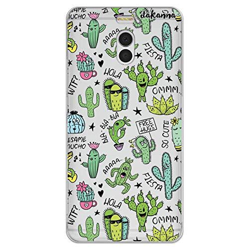 dakanna Funda Compatible con [ Meizu M6 Note ] de Silicona Flexible, Dibujo Diseño [ Pattern Divertido de Cactus y Frases ], Color [Fondo Transparente] Carcasa Case Cover de Gel TPU para Smartphone