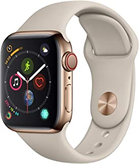 AppleWatch Series4 (GPS+Cellular, 40mm) - Gold Stainless Steel Case with Stone Sport Band, Gold Stainless Steel with Gold Stone Sport Band - MTUR2LL/A
