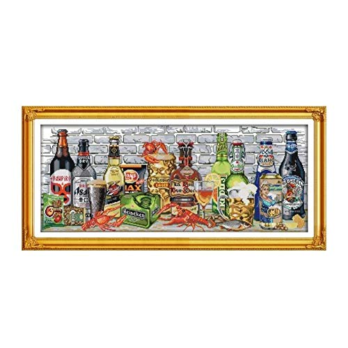 Mrjg Solar Kreuzstichpackung 14ct 11ct Zahl gedruckt Leinwand Bier Lebensmittel Flaschen Kreuzstichen Stickerei DIY handgemachte Hand gartenbeleuchtung (Color : 18ct unprint Canvas)
