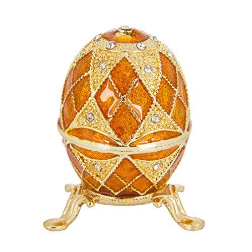 QIFU - Joyero de Estilo Vintage Pintado a Mano con Forma de Huevo de Fabergé con Esmalte Rico y Brillantes Diamantes de imitación decoración del hogar | El Mejor Adorno de tu colección