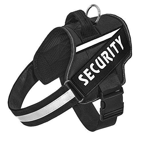 Orinci Reflective Dog Harness, Easy On and Off Pet Vest Harness Breathable Adjustable Pet Vest with Handle for Outdoor Walking-No More Pulling or Tugging, Black M