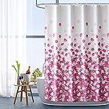 HAOJH Cortinas de Ducha Cortina de Ducha Suave Impermeable con Ganchos para baño Cortina de baño de Tela de poliéster Lavable Anti-Moho (Rosado, 220 x 200 cm)
