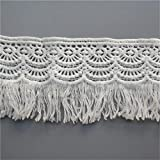 JUIC 3 Metros 8 cm algodón Borla de Ganchillo Flecos Tela de Encaje Cinta Borde Borde Apliques Bordados para Coser artesanía Vestido de Novia Ropa, Blanco