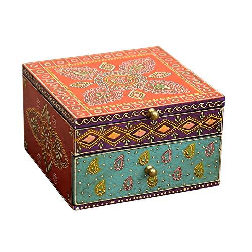 Casa Moro Handbemalte Schmuck-Schatulle Shanti aus Echtholz 16x16x10 cm (B/T/H) mit einer Schublade | Indian Style Schatzkiste mit Paisley-Muster | Originelle Geschenk-Idee für Dame Muttertag | RK65