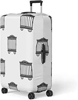 Pinbeam Luggage Cover Cage Circus Wagon in Black Pattern Stock Silhouette Travel Suitcase Cover Protector Baggage Case Fits 22-24 inches