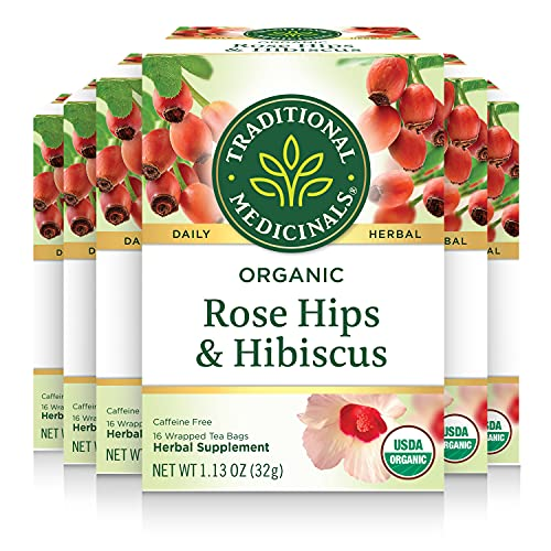 Traditional Medicinals Organic Rose Hips with Hibiscus Herbal Tea (Pack of 6), 96 Tea Bags Total