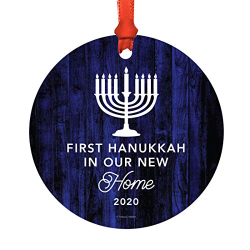 Andaz Press Metal Hanukkah Ornament, First Hanukkah in Our New Home 2020, Fair Isle Holiday, Navy Blue Menorah, 1-Pack, Includes Ribbon and Gift Bag