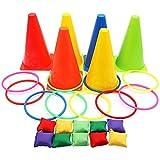 Juego 3 en 1 para carnaval, conos de plástico blandos, pufs, juegos de lanzamiento de anillos para cumpleaños infantiles, fiestas, juegos al aire libre, accesorios, 26 piezas