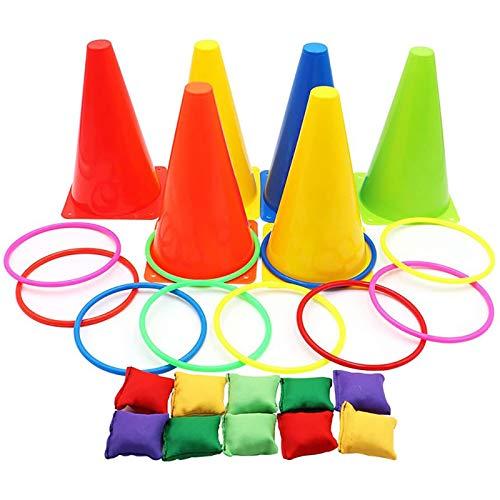 3-in-1 Karnevals-Spiele-Set, weiche Kunststoffkegel, Sitzsäcke, Ringwurfspiele für Kindergeburtstag, Party, Outdoor-Spiele, Zubehör, 26-teiliges Kombi-Set