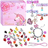 DIY Charm Bracelets for Girls, Girls Jewelry Link Chain Bracelet Necklace Keychain Hair Ties with 26 PCs Random Removable Charms for Teen Girls Women