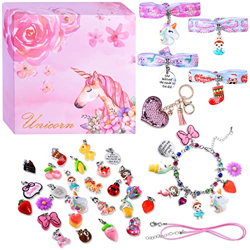 monochef DIY Charm Bracelets for Girls, Girls Jewelry Link Chain Bracelet Necklace Keychain Hair Ties with 26 PCs Random Removable Charms for Teen Girls Women