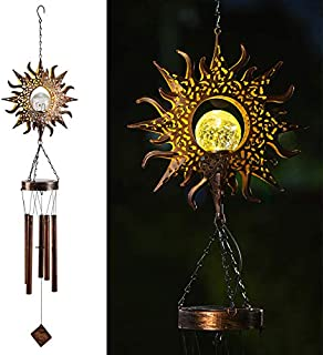 LeiDrail Solar LED Wind Chimes Light Sun Hollow Outdoor Garden Waterproof Metal Hanging Mobile Lamp Solar Powered Windbell...