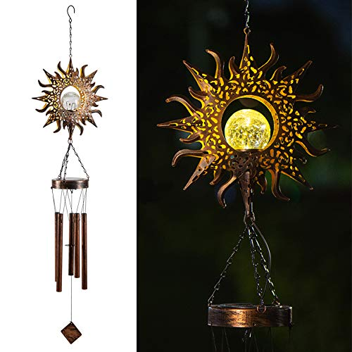 LeiDrail Weihnachten Windspiele Solarleuchten LED Sun hohl Licht Wasserdicht hängende Mobile Lampe Wind Glocken mit 5 Metallröhren für draußen Balkon Garten Hinterhof Mutter Geschenk Länge 99.8cm