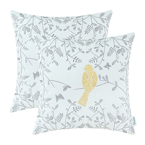 CaliTime Pack of 2 Cotton Throw Pillow Cases Covers for Bed Couch Sofa Cute Bird in Gray Garden Embroidered 16 X 16 Inches Gold