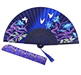 Amajiji 8.27' Chinease/Japanese Hand Held Silk Folding Fan with Bamboo Frame,Hollow Carve Patterns Bamboo Frame Women Hand Folding Fans Hand Fan Gift Fan Craft Fan Folding Fan Dance Fan (HBSY-24)