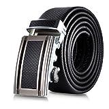 Mio Marino Classic Ratchet Belt - Premium Leather - 1.38 Wide - Adjustable Buckle - Free Gift Box - Distinguished Ratchet Belt - Black - Adjustable from 26' to 44' Waist