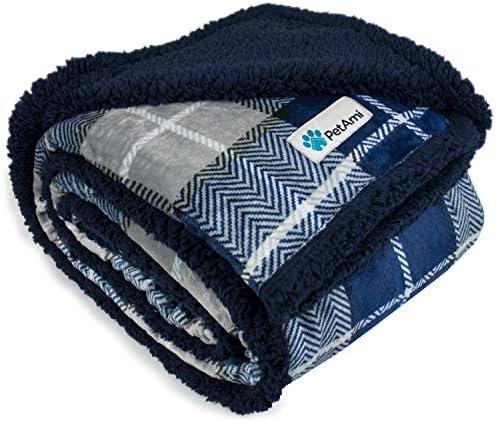 PetAmi Dog Blanket Plaid Sherpa Dog Blanket Plush Reversible Warm Pet Blanket for Dog Bed Couch product image
