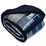 PetAmi Dog Blanket, Plaid Sherpa Dog Blanket | Plush, Reversible, Warm Pet Blanket for Dog Bed, Couch, Sofa, Car (Navy, 50x60 Inches)