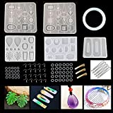 Epoxy Resin Mold Silicone, Full Set Jewelry Molds for Resin Casting Including Earring Pendants Necklace Bracelet Hair Clips, DIY Crafts Kit with Earring Hooks, Jump Rings, Pendant Ropes, Hair Clips