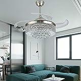 Ventilatore da soffitto da 42 pollici con illuminazione, lampadario di cristallo, lampadario da...