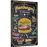 Putuo Decor Hamburger Metal Wall Decor, Funny Art Decoration for Home, Bars, Kitchen, Restaurants, Cafes Pubs, 12x8 Inches Aluminum Sign
