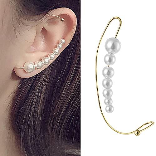 FEARRIN Pendientes de diseño único de Moda Pendiente de Clip de Rayo de Hoja de Oro para Mujer sin Piercing Rock Vintage Crystal Ear Cuff Girls Jewerly Gifts H45-K399-04
