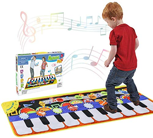 Tencoz Musical Piano Mat 10 Keys Piano Keyboard Play Mat Portable Musical Blanket Build-in Speaker & Recording Function for Kids Toddler Girls Boys
