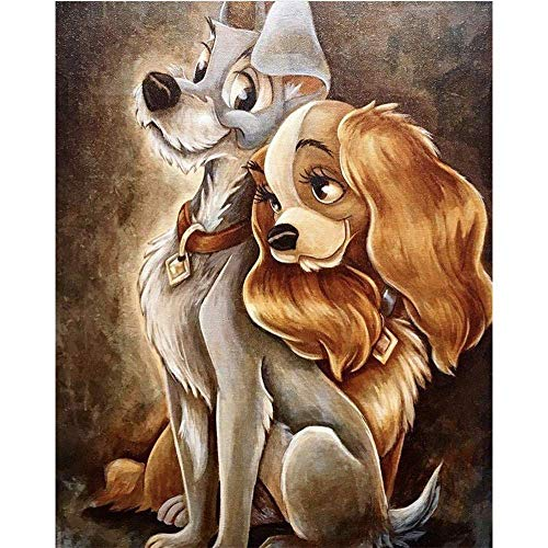 MXJSUA 5D Special Shape Diamond Painting by Number Kit DIY Crystal Rhinestone Drill Picture Art Craft Home Wall Decor 30x40cm Dogs