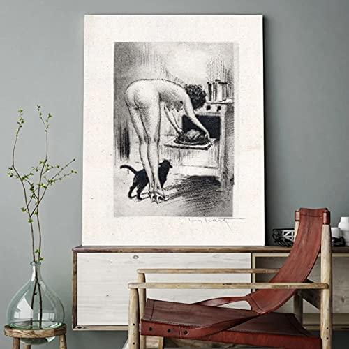 YYAYA.DS Cuadro de Lienzo con Carteles e Impresiones de Tacones Altos sexys Cuadros Decorativos de Pared Pintura de Arte erótica de Cocina Vintage 60x90cm