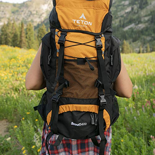 TETON Sports Scout 3400 Internal Frame Backpack; High-Performance Backpack for Backpacking, Hiking, Camping; Mecca Orange