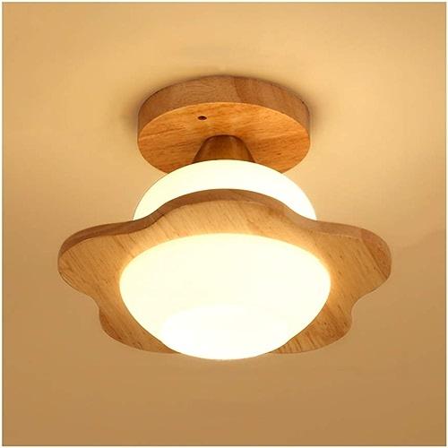 & Plafonnier nordique de créativité, douille de lampe en bois E27 de bois Art Glass Abat-jour de plafonnier (Couleur   Warm lumière)