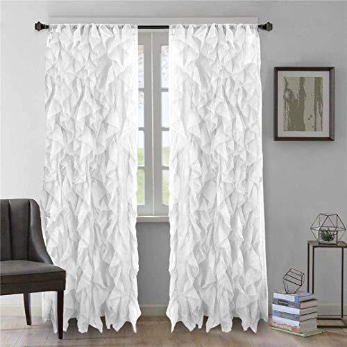 "Diamond Home 2pc Cascade Shabby Chic Sheer Ruffled Curtain Panel (White, 84"" L Panel Pair)"