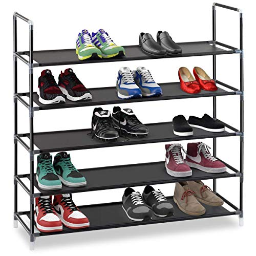 "Halter 5 Tier Stackable Shoe Rack Storage Shelves - Stainless Steel Frame Holds 25 Pairs of Shoes - 35.75"" x 11.125"" x 34.25"" - Black"