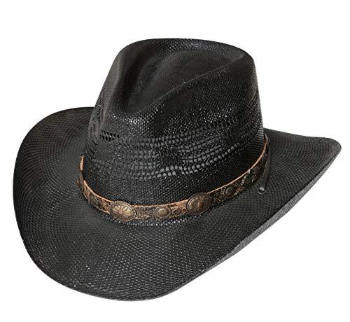 Westernwear-Shop Western Strohhut Fresno schwarz Edition Westernhut Cowboyhut Westernkleidung Strohhut für Damen und Herren (Medium) Schwarz