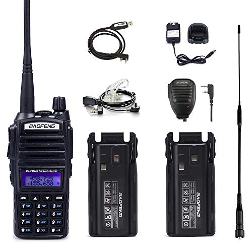 Baofeng UV-82 Radio Handheld High Power 2 Way Radio with One More 2800mAh Battery, One Hand Mic, One High Gain Antenna, One Acoustic Tube Earpiece and One Programming Cable