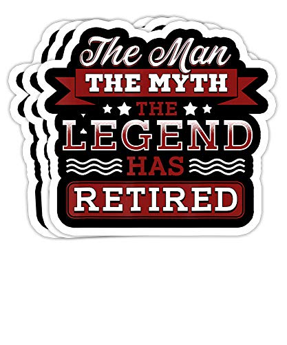 Peach Poem Retirement Funny The Man Myth Legend Has Retired- 4x3 Vinyl Stickers, Laptop Decal, Water Bottle Sticker (Set of 3)