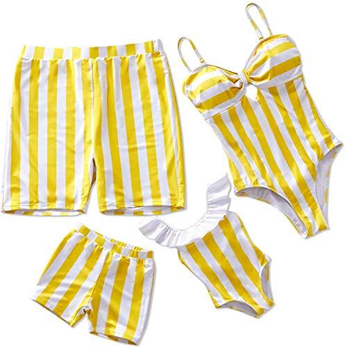 IFFEI Family Matching Swimwear One Piece Bathing Suit Striped Hollow Out Monokini Mommy and Me Beachwear Women: XL Yellow
