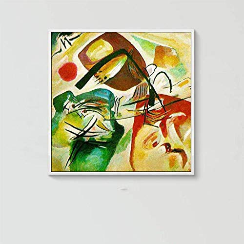 Schilderverf op olieverfschilderij op canvas, Abstract Figura Del Fumetto E La Rana Verde, moderne kunst Pop Dia, maat A Mano Wall Art Picture voor het leven huis Sala Ristorante Arredamen 90×90 cm/36×36 inch