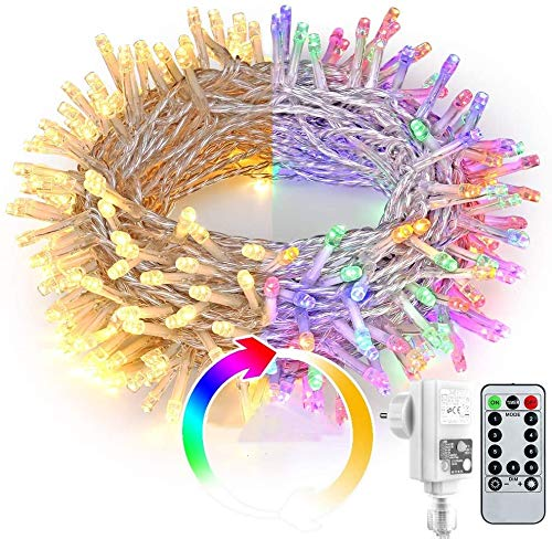 BrizLabs 20M 200 LED Lichterkette mit Fernbedienung, Warmweiß und Bunt dimmbar, 9 Modi Strombetrieben Außen mit Transformator und Timer für Innen Haus Weihnachten Party Garten Deko