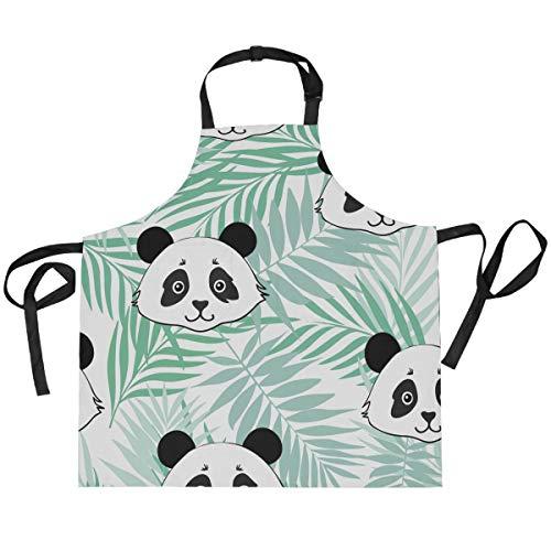 Hunihuni - Delantal de cocina con diseño de panda de palma, ajustable, con 2 bolsillos para cocina, cocina, hornear, barbacoa