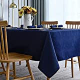 Softalker Jacquard Rectangle Tablecloth - Swirl Design Waterproof Spill Proof Table Cover Wrinkle Resistant Heavy Weight Soft Damask Table Cloths for Dining and Kitchen, (60 x 84 Inch, Navy Blue)