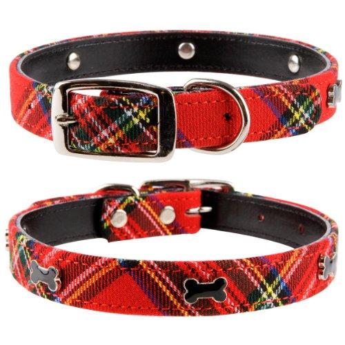 Collar pequeño de piel para perros Pet Palace® con diseño de tela escocesa, para «perrito escocés», para perros orgullosos de su patrimonio