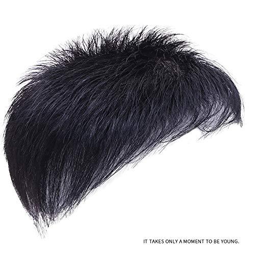 llwig Haarperücke, voll handgewebter Echthaar-Ersatzblock, unsichtbare weiße Überkopf-Ersatzperücke,Black-16 * 18