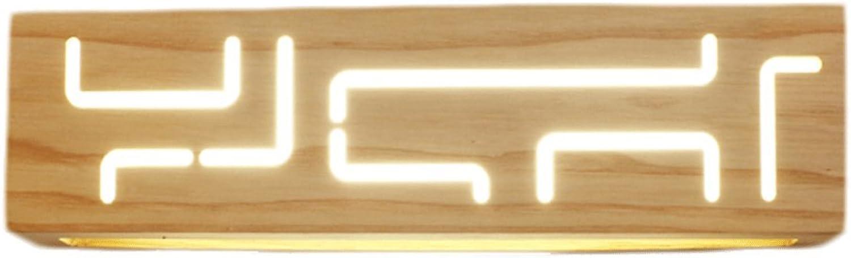 GCX-Wandleuchte Nordic modernen Minimalismus Led Massivholz Schlafzimmer Kopfteil Wandleuchte Holzleuchten Treppenhaus Gangbeleuchtung (Farbe   A, gre   L)